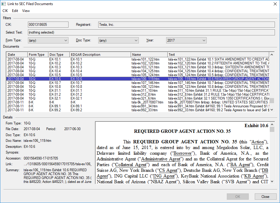 A screenshot of the GoFiler SEC Linker tool