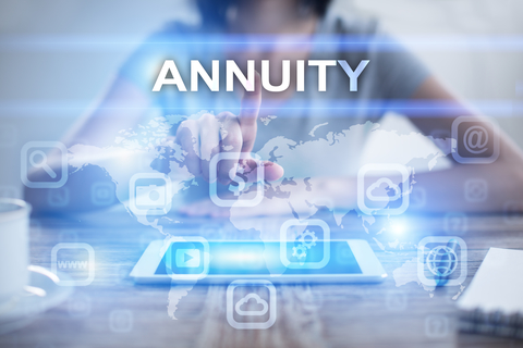 A woman pressing on a virtual screen and selecting annuity