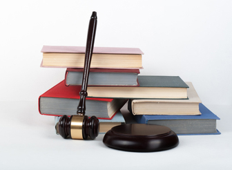 A gavel sitting next to regulation books