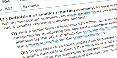 A picture of the smaller reporting company definition in Item 10(f)(1) of Regulation S-K