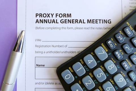 A proxy voting form