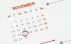 A calendar showing the November 23 effective date.