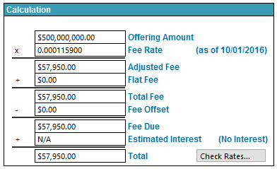 An Example Fee Calculation
