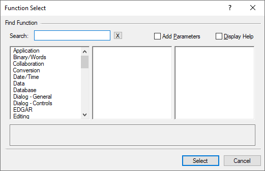 Function Select dialog