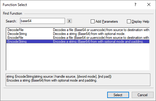 Function Select dialog showing the search