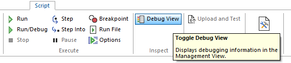 Ribbon showing Debug View