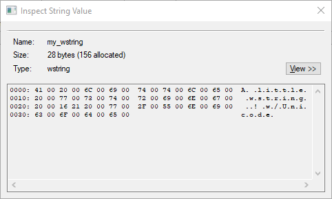 String Value Type inspector dialog showing hexidecimal