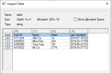 Array Value Type inspector dialog showing a table with keys