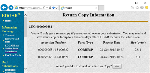 EDGAR: Return Copy Information