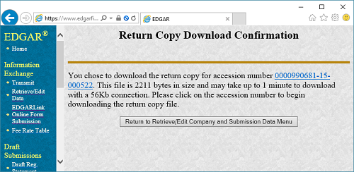 EDGAR: Return Copy Download Confirmation