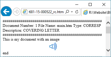 Viewing a return copy file with the .htm extension inside of a browser when the image file is available for rendering.