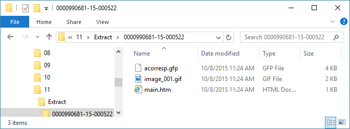 The extracted documents from a return copy file
