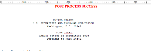 A screenshot of the resulting file showing that the post-process script ran successfully.
