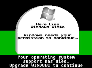A picture of a tombstone with an epitaph for Windows Vista