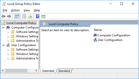 A screenshot of the Windows Local Group Policy Editor