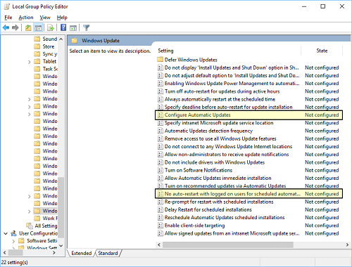 A screenshot of the Windows Update options with the two settings to control automatic restarts highlighted